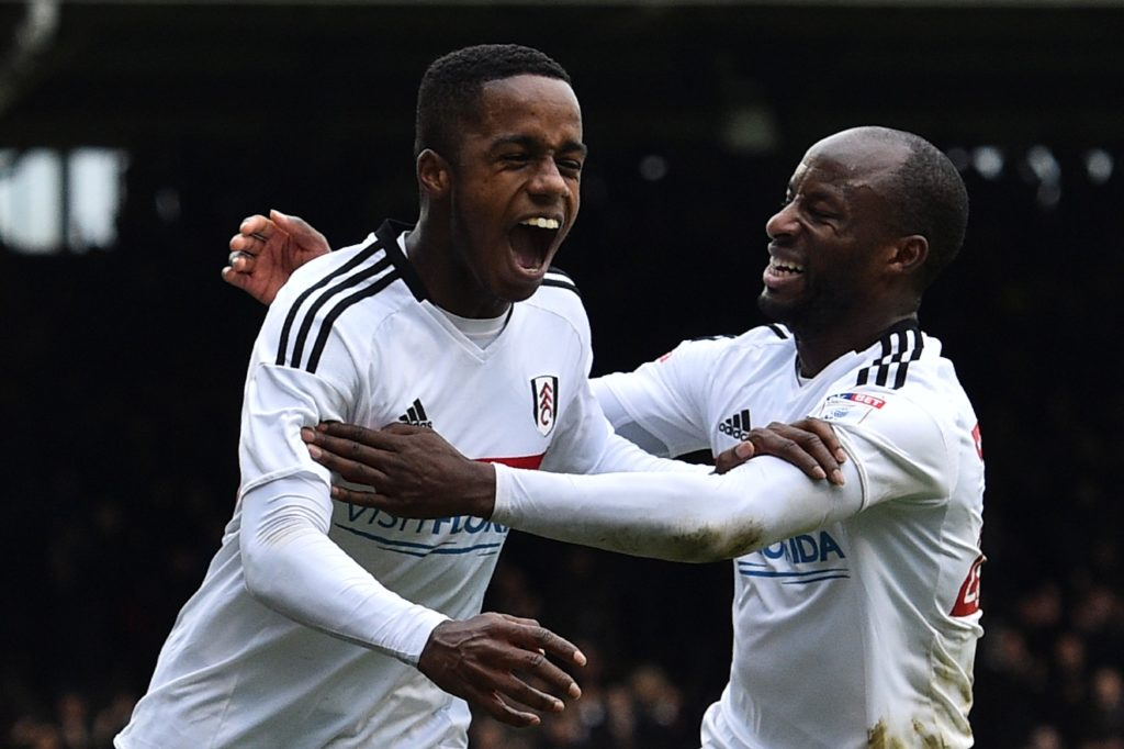 Fulham's English defender Ryan Sessegnon (L) celebrates scoring their third goal during the English FA Cup fourth round football match between Fulham and Hull City at Craven Cottage in London on January 29, 2017. / AFP PHOTO / Glyn KIRK / RESTRICTED TO EDITORIAL USE. No use with unauthorized audio, video, data, fixture lists, club/league logos or 'live' services. Online in-match use limited to 75 images, no video emulation. No use in betting, games or single club/league/player publications.  /