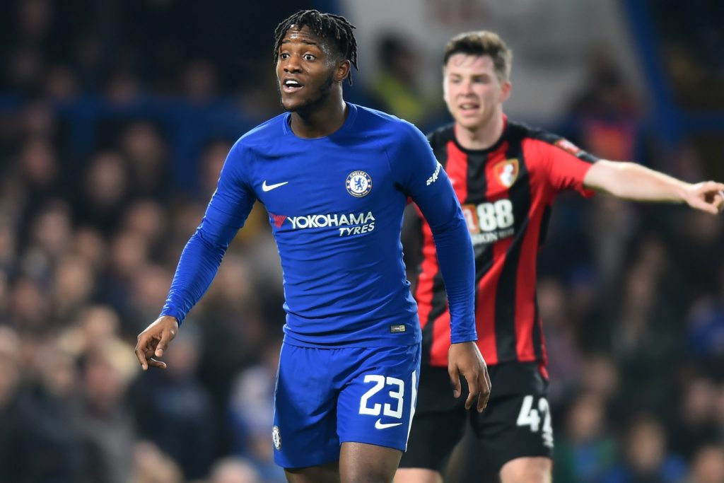 Chelsea Forward Michy Batshuayi during the Carabao Cup Quarter - Final match between Chelsea and AFC Bournemouth at Stamford Bridge, London, England on 20 Dec 2017.   (Photo by Kieran Galvin/NurPhoto)