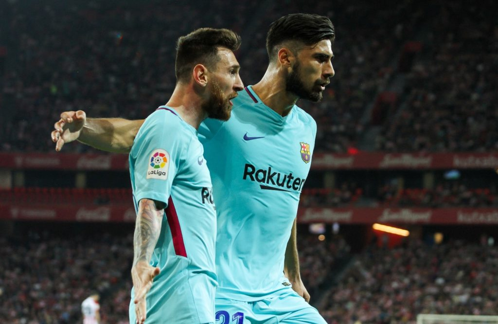 Lionel Messi of Barcelona celebrates a goal with Andre Gomes during the Spanish championship Liga football match between Athletic de Bilbao and FC Barcelona on October 28, 2017 at the San Mames stadium in Bilbao, Spain - Photo Irina RH / Spain DPPI / DPPI