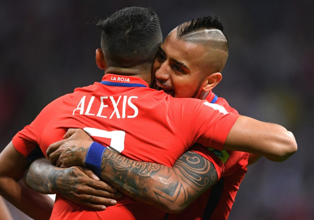 3137692 06/22/2017 From left: Chile's Alexis Sanchez, goalscorer of Chile's national team, and Arturo Vidal celebrate a goal during the 2017 FIFA Confederations Cup match between Germany and Chile. Alexey Filippov