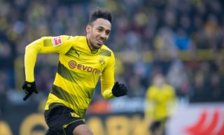 Dortmund's Pierre-Emerick Aubameyang sprinting across the pitch during the German Bundesliga football match between Borussia Dortmund and SC Freiburg at the Signal Iduna Park in Dortmund, Germany, 27Janaury 2018.  (EMBARGO CONDITIONS - ATTENTION: Due to the accreditation guidelines, the DFL only permits the publication and utilisation of up to 15 pictures per match on the internet and in online media during the match.) Photo: Guido Kirchner/dpa