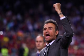Barcelona's coach Luis Enrique celebrates their victory after the team won the Spanish Copa del Rey (King's Cup) final football match FC Barcelona vs Deportivo Alaves at the Vicente Calderon stadium in Madrid on May 27, 2017. Barcelona won 3-1. / AFP PHOTO / Josep LAGO