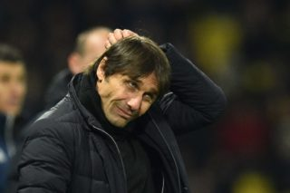 Chelsea's Italian head coach Antonio Conte looks on during the English Premier League football match between Watford and Chelsea at Vicarage Road Stadium in Watford, north of London on February 5, 2018. / AFP PHOTO / Glyn KIRK / RESTRICTED TO EDITORIAL USE. No use with unauthorized audio, video, data, fixture lists, club/league logos or 'live' services. Online in-match use limited to 75 images, no video emulation. No use in betting, games or single club/league/player publications.  /