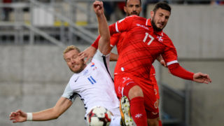 Slovakia's Adam Nemec (L) vies with Malta's Ryan Camilleri during the FIFA World Cup 2018 qualification football match between Slovakia and Malta in Trnava on October 8, 2017. / AFP PHOTO / VLADIMIR SIMICEK        (Photo credit should read VLADIMIR SIMICEK/AFP/Getty Images)