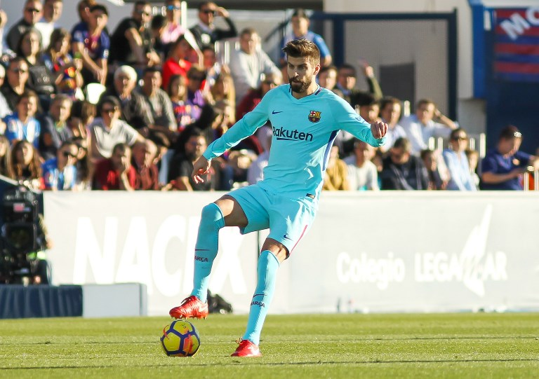 Gerard Pique of FC Barcelona during the Spanish championship Liga football match between Leganes and Fc Barcelona on November 18, 2017 at the Butarque Stadium in Leganes, Spain - Photo Irina RH / Spain DPPI / DPPI