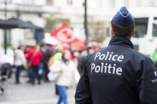 Illustration picture shows a police at a demonstration organised by several associations and organisations (ACLVB, AABVV, ACV) to demand more social Europe, Wednesday 08 November 2017. Labor union will be received at the european parliament. BELGA PHOTO JASPER JACOBS