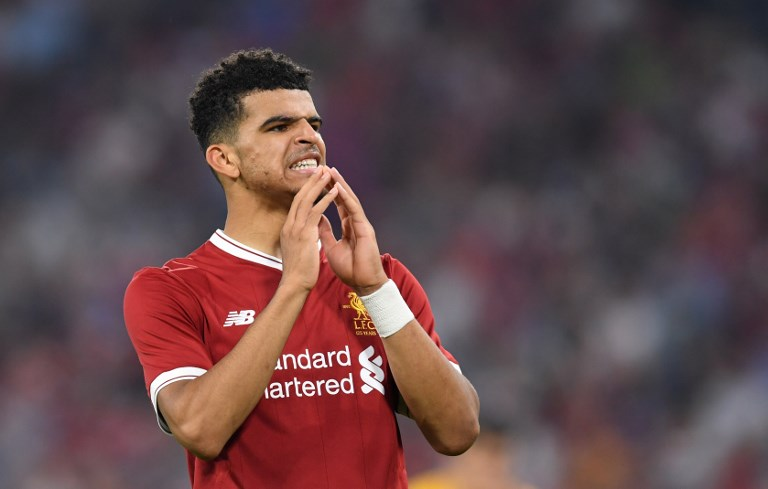Liverpool's defender Dominic Solanke reacts during the final Audi Cup soccer match between Atletico Madrid and FC Liverpool in the stadium in Munich, southern Germany, on August 2, 2017.  / AFP PHOTO / Christof STACHE