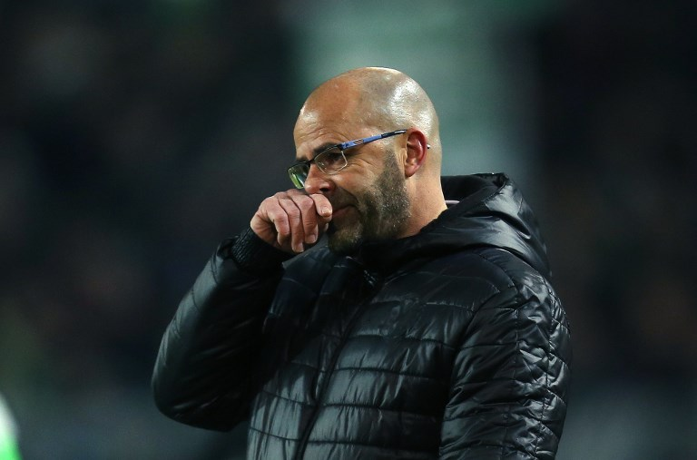 Peter Bosz, head coach of Dortmund gestures during the German Bundesliga football match between Borussia Dortmund and Werder Bremen at Signal Iduna Park in Dortmund, Germany, 9 December 2017. 
