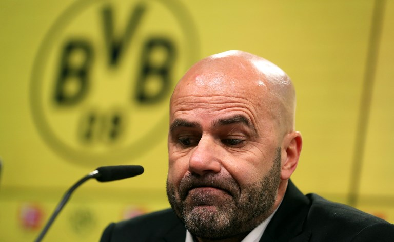 Peter Bosz, head coach of Dortmund speaks during a press conference after the German Bundesliga football match between Borussia Dortmund and Werder Bremen at Signal Iduna Park in Dortmund, Germany, 9 December 2017. 
