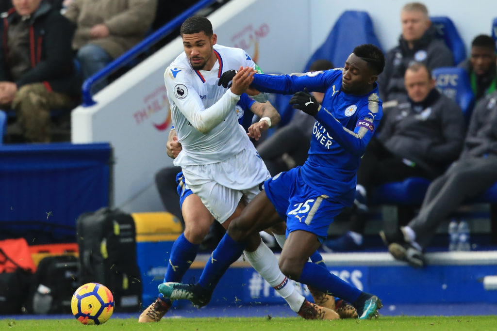 Leicester City's Nigerian midfielder Wilfred Ndidi (R) vies with Crystal Palace's English midfielder Ruben Loftus-Cheek during the English Premier League football match between Leicester City and Crystal Palace at King Power Stadium in Leicester, central England on December 16, 2017. / AFP PHOTO / Lindsey PARNABY / RESTRICTED TO EDITORIAL USE. No use with unauthorized audio, video, data, fixture lists, club/league logos or 'live' services. Online in-match use limited to 75 images, no video emulation. No use in betting, games or single club/league/player publications.  /