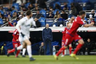 Real Madrid's French coach Zinedine Zidane reacts during the Spanish cup, Copa del Rey, round of 16, 2nd leg football match between Real Madrid and Numancia on January 10, 2018 at Santiago Bernabeu stadium in Madrid, Spain - Photo Benjamin Cremel / DPPI