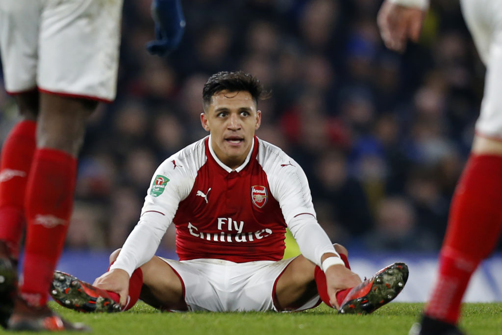 Arsenal's Chilean striker Alexis Sanchez during the English League Cup semi-final first leg football match between Chelsea and Arsenal at Stamford Bridge in London on January 10, 2018. The game finished 0-0. / AFP PHOTO / Ian KINGTON / RESTRICTED TO EDITORIAL USE. No use with unauthorized audio, video, data, fixture lists, club/league logos or 'live' services. Online in-match use limited to 75 images, no video emulation. No use in betting, games or single club/league/player publications.  /
