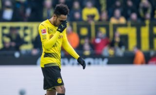Dortmund's Pierre-Emerick Aubameyang pictured during the German Bundesliga football match between Borussia Dortmund and SC Freiburg at the Signal Iduna Park in Dortmund, Germany, 27Janaury 2018.    (EMBARGO CONDITIONS - ATTENTION: Due to the accreditation guidelines, the DFL only permits the publication and utilisation of up to 15 pictures per match on the internet and in online media during the match.) Photo: Guido Kirchner/dpa