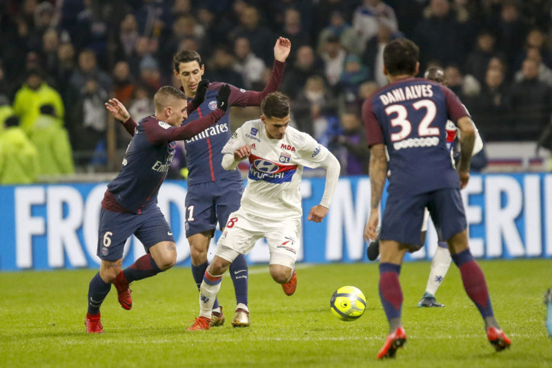 Houssem Aouar of Lyon and Marco Verratti of Paris and Angel Di Maria of Paris during the French Championship Ligue 1 football match between Olympique Lyonnais and Paris Saint-Germain on January 21, 2018 at Groupama stadium in Decines-Charpieu near Lyon, France - Photo Romain Biard / Isports / DPPI