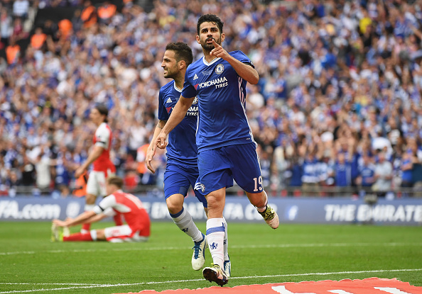 LONDON, ENGLAND - MAY 27:  Diego Costa of Chelsea celebrates scoring his sides first goal during the Emirates FA Cup Final between Arsenal and Chelsea at Wembley Stadium on May 27, 2017 in London, England.  (Photo by Mike Hewitt/Getty Images)