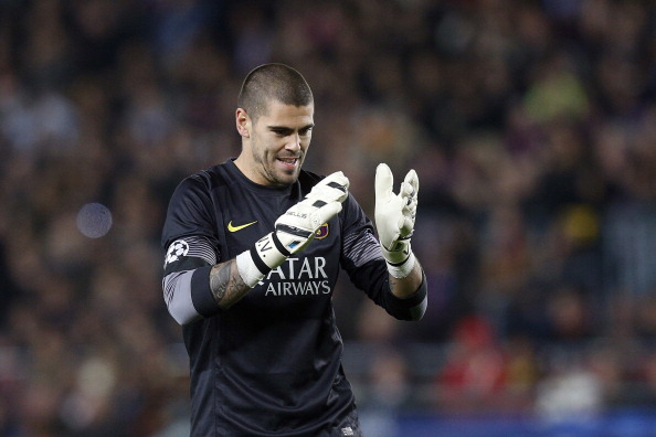 Goalkeeper Victor Valdes of FC Barcelona during the Champions League match between FC Barcelona and Manchester City at Camp Nou on March 12, 2014 in Barcelona, Spain.(Photo by VI Images via Getty Images)