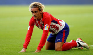 MUNICH, GERMANY - AUGUST 01:  Antoine Griezmann of Atletico Madrid reacts during the Audi Cup 2017 match between Club Atletico de Madrid and SSC Napoli at Allianz Arena on August 1, 2017 in Munich, Germany.  (Photo by Martin Rose/Bongarts/Getty Images)