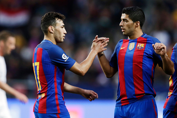 SOLNA, SWEDEN - AUGUST 03: Munir El Haddadi of FC Barcelona and Luis Suarez of FC Barcelona celebrate after Munir El Haddadi scored 0-1 during the Pre-Season Friendly between Leicester City FC and FC Barcelona at Friends arena on August 3, 2016 in Solna, Sweden. (Photo by Nils Petter Nilsson/Ombrello/Getty Images)