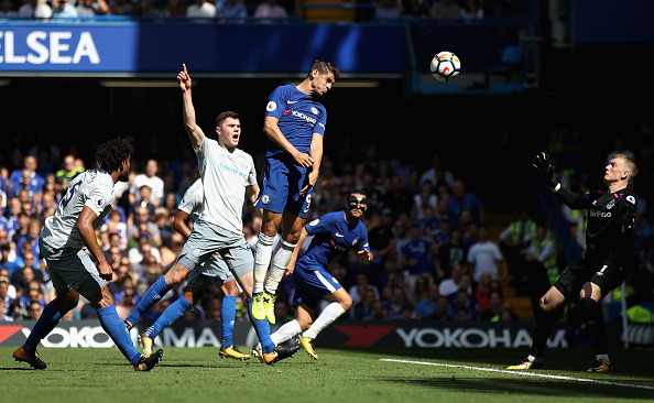 during the Premier League match between Chelsea and Everton at Stamford Bridge on August 27, 2017 in London, England.