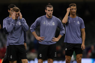 CARDIFF, WALES - JUNE 02: Toni Kroos, Gareth Bale and Cristiano Ronaldo of Real Madrid during a Real Madrid training session prior to the UEFA Champions League Final at National Stadium of Wales on June 2, 2017 in Cardiff, Wales. (Photo by Matthew Ashton - AMA/Getty Images)