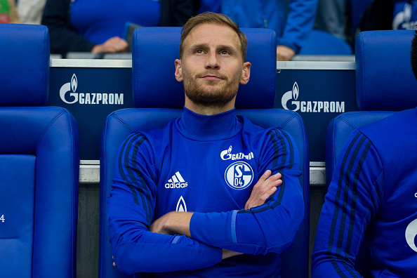 GELSENKIRCHEN, GERMANY - AUGUST 19: Benedikt Hoewedes of Schalke sits on the bench during the Bundesliga match between FC Schalke 04 and RB Leipzig at Veltins-Arena on August 19, 2017 in Gelsenkirchen, Germany. (Photo by TF-Images/TF-Images via Getty Images)