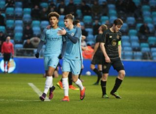 Jadon Sancho  of Manchester CityUner 19s celebrates his goal