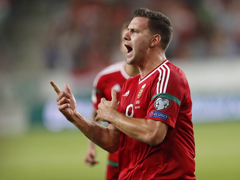 BUDAPEST, HUNGARY - AUGUST 31: Adam Szalai of Hungary celebrates his goal during the FIFA 2018 World Cup Qualifier match between Hungary and Latvia at Groupama Arena on August 31, 2017 in Budapest, Hungary. (Photo by Laszlo Szirtesi/Getty Images)