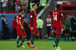 KAZAN, RUSSIA - JUNE 28:  Cristiano Ronaldo of Portugal looks on after a penalty shootout during the FIFA Confederations Cup Russia 2017 Semi-Final match between Portugal and Chile at Kazan Arena on June 28, 2017 in Kazan, Russia.  (Photo by Robbie Jay Barratt - AMA/Getty Images)