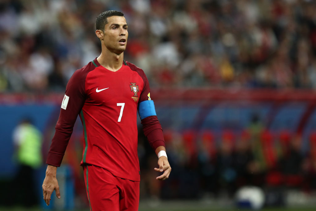 KAZAN, RUSSIA - JUNE 28:  Cristiano Ronaldo of Portugal looks on during the FIFA Confederations Cup Russia 2017 Semi-Final match between Portugal and Chile at Kazan Arena on June 28, 2017 in Kazan, Russia.  (Photo by Robbie Jay Barratt - AMA/Getty Images)