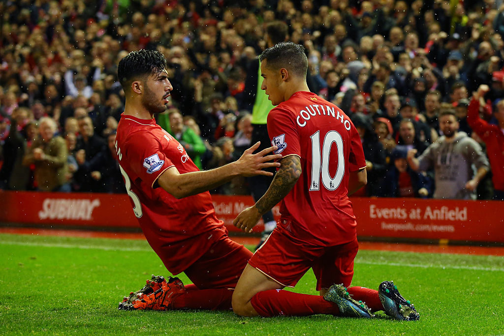 LIVERPOOL, ENGLAND - NOVEMBER 08:  Philippe Coutinho of Liverpool (r) celebrates scoring his side's first goal with Emre Can of Liverpool during the Barclays Premier League match between Liverpool and Crystal Palace at Anfield on November 8, 2015 in Liverpool, England.  (Photo by Alex Livesey/Getty Images)