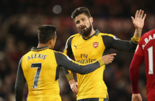 MIDDLESBROUGH, ENGLAND - APRIL 17:  Olivier Giroud and Alexis Sanchez of Arsenal in discussion during the Premier League match between Middlesbrough and Arsenal at Riverside Stadium on April 17, 2017 in Middlesbrough, England.  (Photo by Jan Kruger/Getty Images)