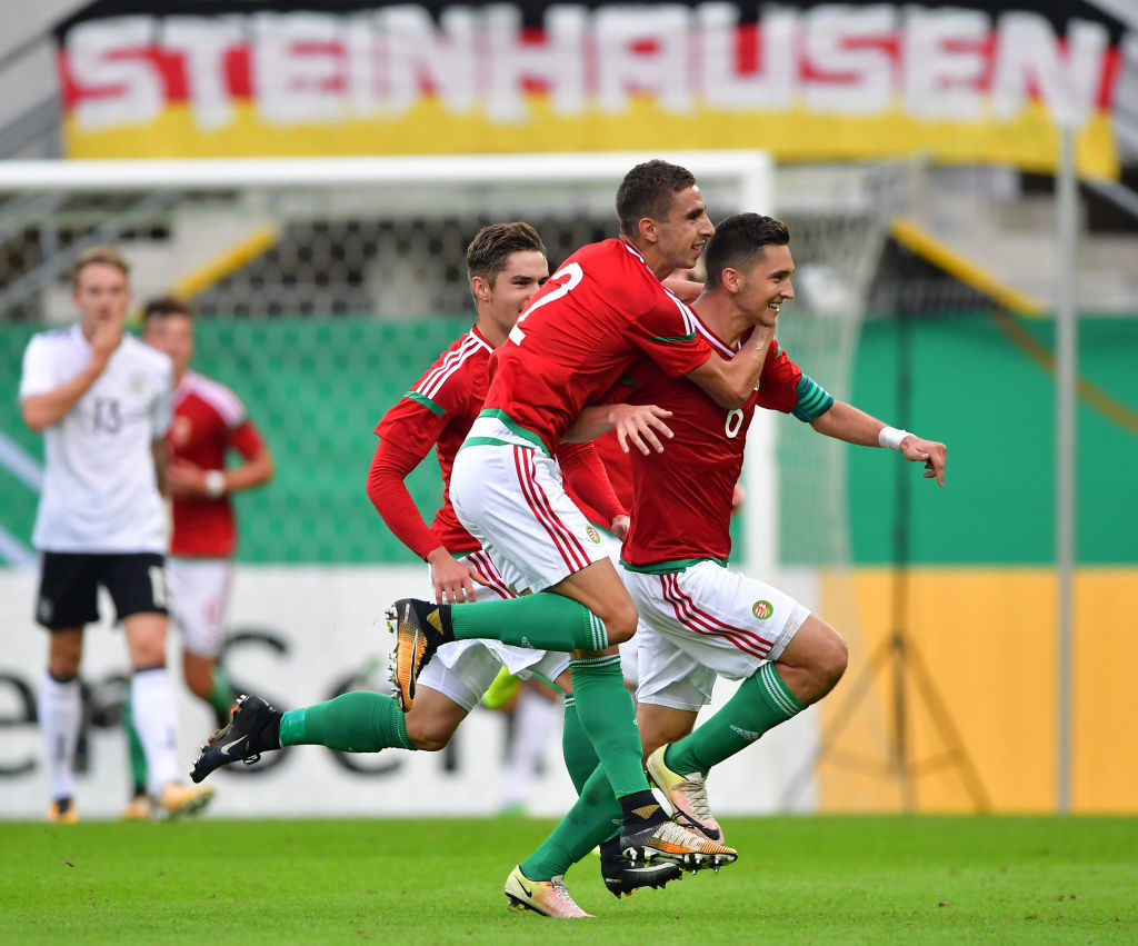 PADERBORN, GERMANY - SEPTEMBER 01:  Mate Vida of Hungary 21 celebrates scoring the second goal during the International friendly match between Germany U21 and Hungary U21 at the Benteler Arena on September 1, 2017 in Paderborn, Germany.  (Photo by Stuart Franklin/Getty Images)