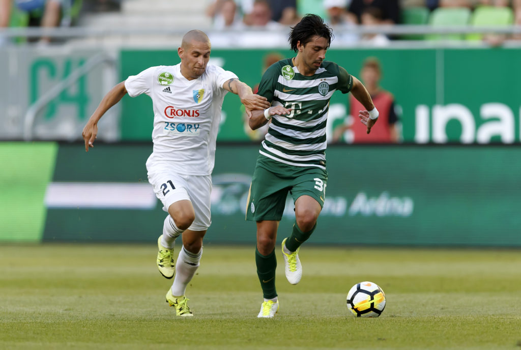 BUDAPEST, HUNGARY - JULY 30: Rui Pedro #30 of Ferencvarosi TC wins the ball from Jakub Brasen #21 of Mezokovesd Zsory FC during the Hungarian OTP Bank Liga match between Ferencvarosi TC and Mezokovesd Zsory FC at Groupama Arena on July 30, 2017 in Budapest, Hungary. (Photo by Laszlo Szirtesi/Getty Images)