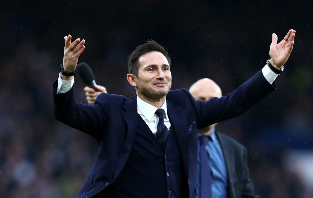LONDON, ENGLAND - FEBRUARY 25: Frank Lampard shows appreciation to the fans at half time during the Premier League match between Chelsea and Swansea City at Stamford Bridge on February 25, 2017 in London, England.  (Photo by Clive Rose/Getty Images)