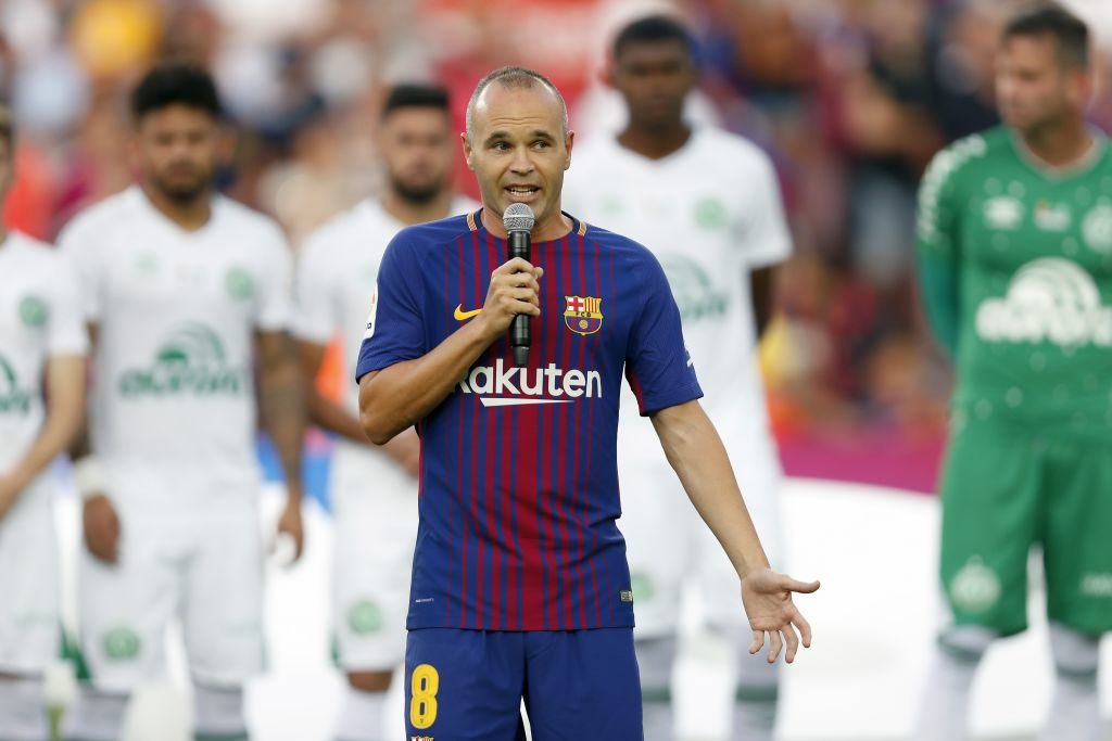 Andres Iniesta of FC Barcelona during the Trofeu Joan Gamper match between FC Barcelona and Chapecoense on August 7, 2017 at the Camp Nou stadium in Barcelona, Spain.(Photo by VI Images via Getty Images)
