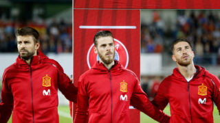 VADUZ, LIECHTENSTEIN - SEPTEMBER 05: Gerard Pique of Spain , David De Gea of Spain and Sergio Ramos of Spain looks on during the FIFA 2018 World Cup Qualifier between Liechtenstein and Spain at Rheinpark Stadion on September 5, 2017 in Vaduz, Liechtenstein. (Photo by TF-Images/TF-Images via Getty Images)