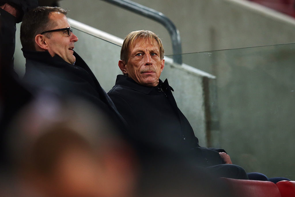 COLOGNE, GERMANY - NOVEMBER 22:  Christoph Daum looks on during the Bundesliga match between 1. FC Koeln and Hertha BSC at RheinEnergieStadion on November 22, 2014 in Cologne, Germany.  (Photo by Alex Grimm/Bongarts/Getty Images)