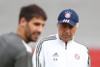 MUNICH, GERMANY - SEPTEMBER 11:  Carlo Ancelotti, Manager of Bayern Muenchen looks on during a Bayern Muenchen training session ahead of the UEFA Champions League Group B match against Anderlecht at Saebener Strasse training ground on September 11, 2017 in Munich, Germany.  (Photo by Alexander Hassenstein/Bongarts/Getty Images)