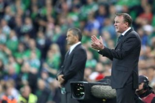 Northern Ireland Manager Michael O'Neill during the UEFA Group F Euro 2016 Qualifying football match between Northern Ireland and Hungary on September 7, 2015 played at Windsor Park in Belfast, Northern Ireland. Photo Paul Greenwood / Backpage Images / DPPI
