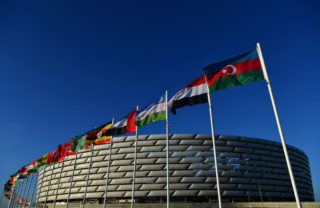 BAKU, AZERBAIJAN - MAY 22:  Flags of all the participating countries are displayed outside the stadium prior to the closing ceremony of Baku 2017 - 4th Islamic Solidarity Games at the Olympic Stadium on May 22, 2017 in Baku, Azerbaijan. (Photo by Dan Mullan/Getty Images)