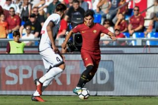 Diego Perotti of Roma is challenged by Gabriele Angella of Udinese during the Serie A match between Roma and Udinese at Olympic Stadium, Roma, Italy on 23 September 2017.  (Photo by Giuseppe Maffia/NurPhoto)