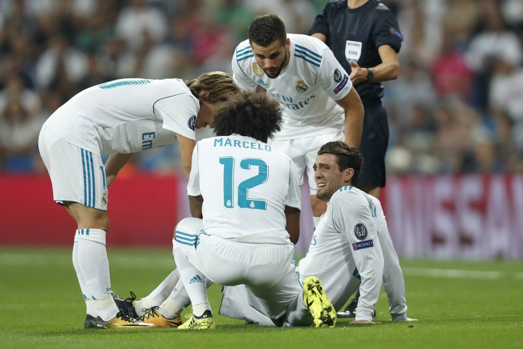 (L-R) Luka Modric of Real Madrid, Marcelo of Real Madrid, Nacho of Real Madrid, Mateo Kovacic of Real Madrid during the UEFA Champions League group H match between Real Madrid and APOEL FC on September 13, 2017 at the Santiago Bernabeu stadium in Madrid, Spain.(Photo by VI Images via Getty Images)