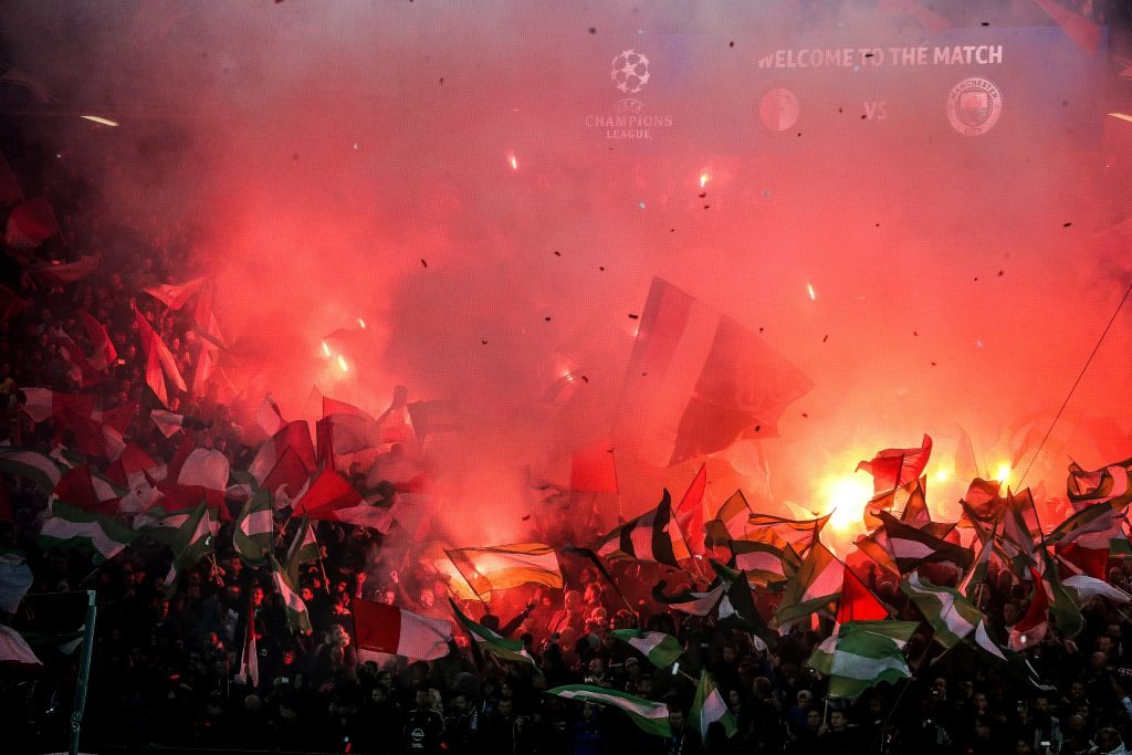 fans, supporters, scarfs, flags, fireworks, scoreboard, fire during the UEFA Champions League group F match between Feyenoord Rotterdam and Manchester City at the Kuip on September 13, 2017 in Rotterdam, The Netherlands(Photo by VI Images via Getty Images)