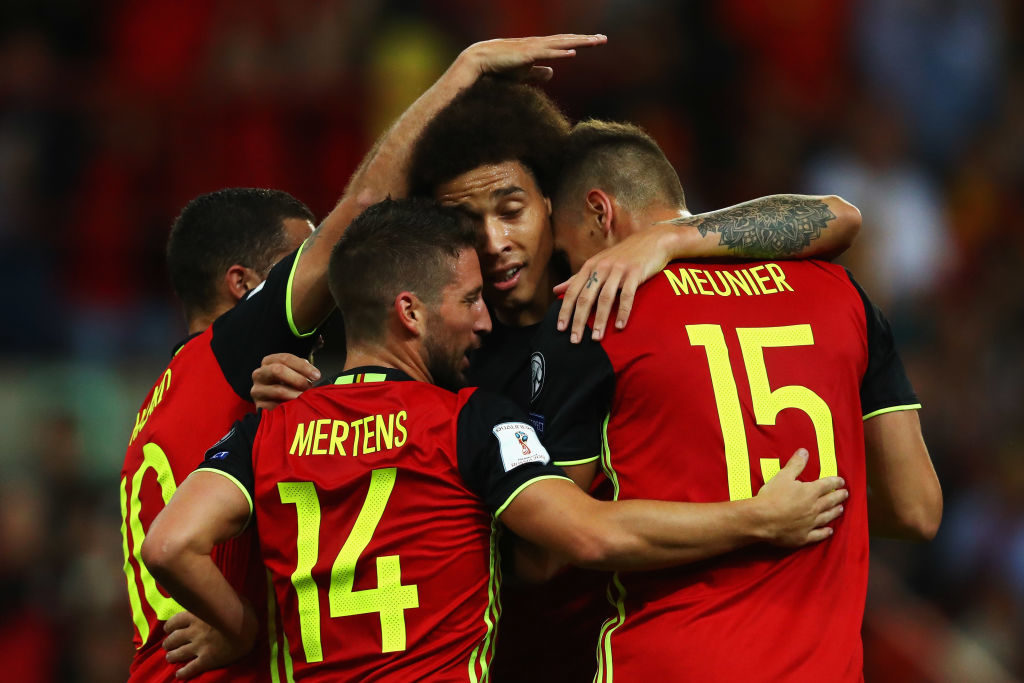 BRUSSELS, BELGIUM - AUGUST 31:  Thomas Meunier of Belgium celebrates scoring a goal with team mates Dries Mertens, Axel Witsel and Eden Hazard during the FIFA 2018 World Cup Qualifier between Belgium and Gibraltar at Stade Maurice Dufrasne on August 31, 2017 in Liege, Belgium.  (Photo by Dean Mouhtaropoulos/Getty Images)