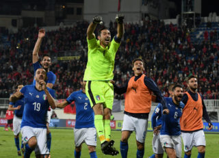 SHKODER, ALBANIA - OCTOBER 09:  Gianluigi Buffon celebrates his teams win after the FIFA 2018 World Cup Qualifier between Albania and Italy at Loro Borici Stadium on October 9, 2017 in Shkoder,Albania.  (Photo by Claudio Villa/Getty Images)
