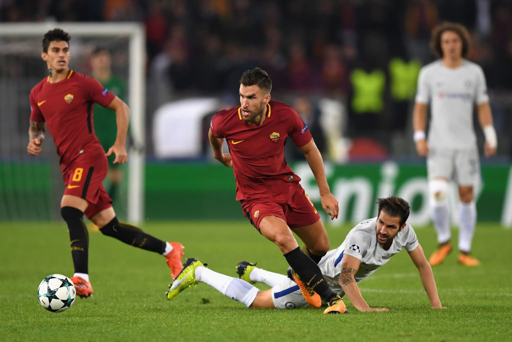 during the UEFA Champions League group C match between AS Roma and Chelsea FC at Stadio Olimpico on October 31, 2017 in Rome, Italy.