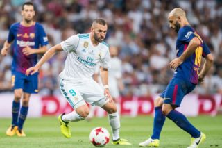 MADRID, SPAIN - AUGUST 16 - Karim Benzema of Real Madrid in action during their Supercopa de Espana Final 2nd Leg match between Real Madrid and FC Barcelona at the Estadio Santiago Bernabeu on 16 August 2017 in Madrid, Spain. (Photo by Power Sport Images/Getty Images)