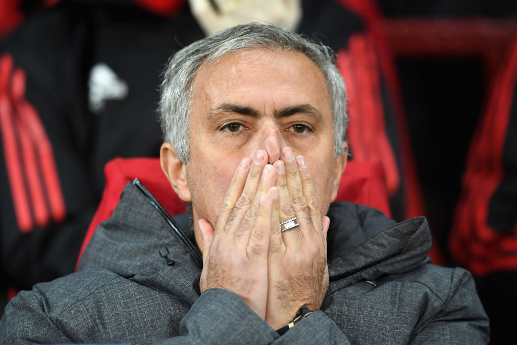 MANCHESTER, ENGLAND - OCTOBER 31:  Jose Mourinho, Manager of Manchester United ahead of the UEFA Champions League group A match between Manchester United and SL Benfica at Old Trafford on October 31, 2017 in Manchester, United Kingdom.  (Photo by Michael Regan/Getty Images)