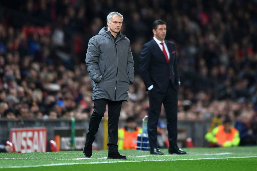 MANCHESTER, ENGLAND - OCTOBER 31: Jose Mourinho, Manager of Manchester United looks on during the UEFA Champions League group A match between Manchester United and SL Benfica at Old Trafford on October 31, 2017 in Manchester, United Kingdom.  (Photo by Michael Regan/Getty Images)