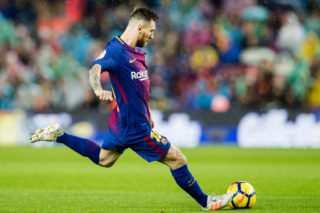 BARCELONA, SPAIN - NOVEMBER 04: Lionel Andres Messi of FC Barcelona in action during the La Liga 2017-18 match between FC Barcelona and Sevilla FC at Camp Nou on November 04 2017 in Barcelona, Spain. (Photo by Power Sport Images/Getty Images)
